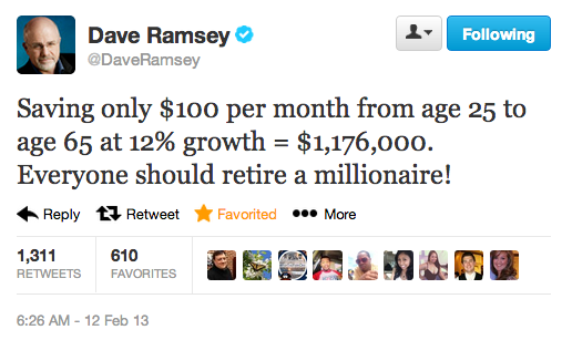 Dave Ramsey tweet Saving 100 a month