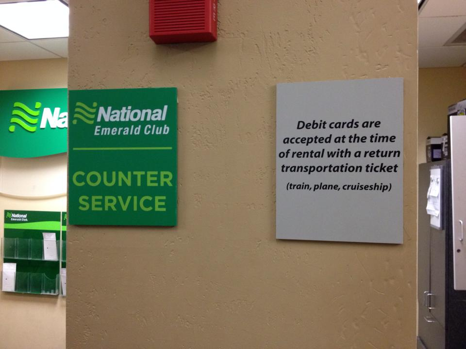 National Rental Car Debit Card Policy